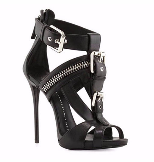 Gothic Metal fastener zipper punk fish mouth stiletto sandals