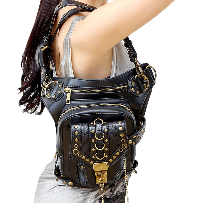 Steampunk Chain Outdoor Multi-Functional Leather Running Waistpack