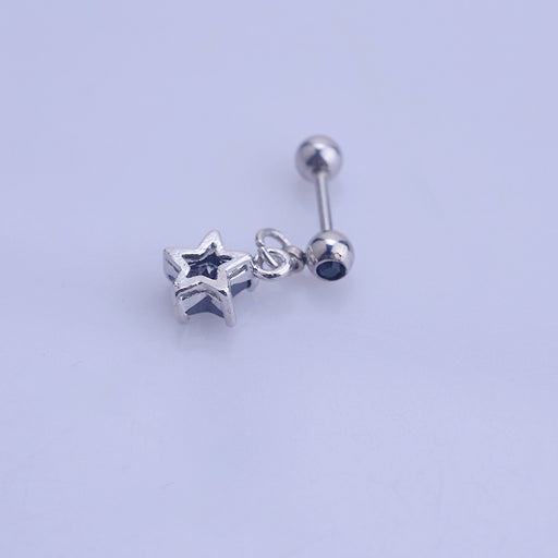 Gothic medical steel mini star earrings for men and women