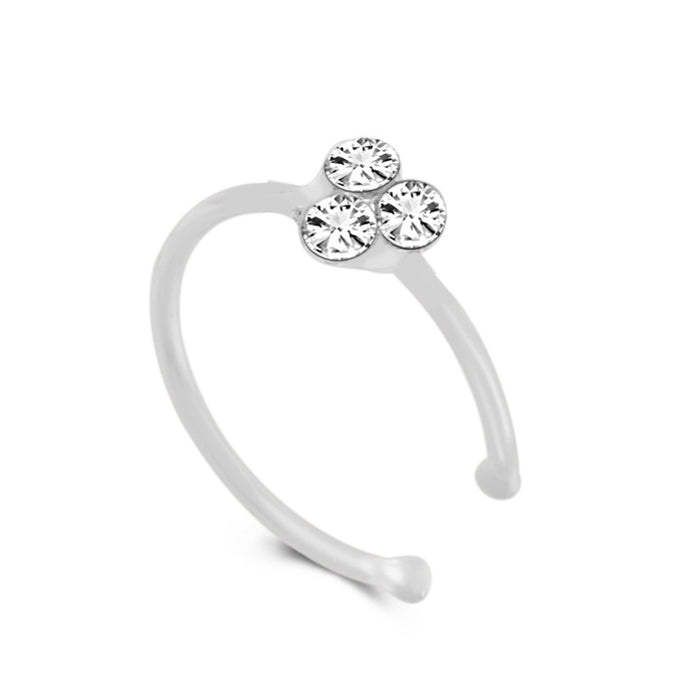Gothic 925 silver three diamond Mickey Mouse allergy nose ring