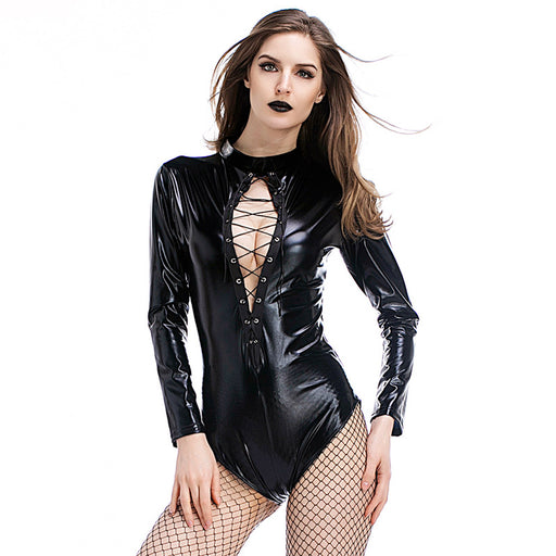 Gothic Punk Lace Up Leather Bodysuit