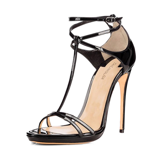 Gothic Patent leather T with open toe bag and high heel sandals