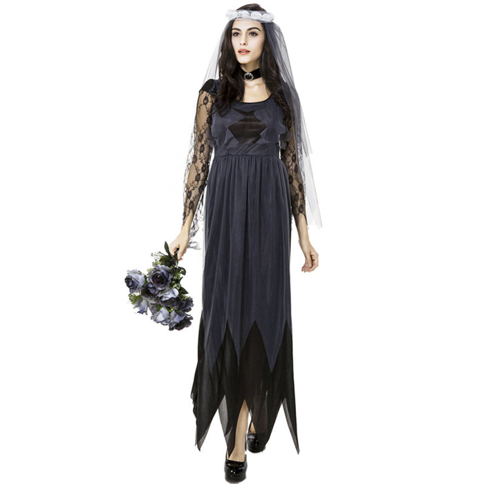Gothic Vampire Cosplay Bride Party Wedding Dress