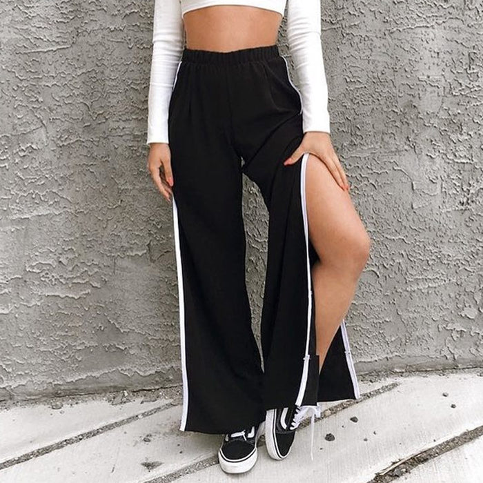 Gothic Street Shot Black Fashion Wide Loose Fork Wide Leg Casual Pants