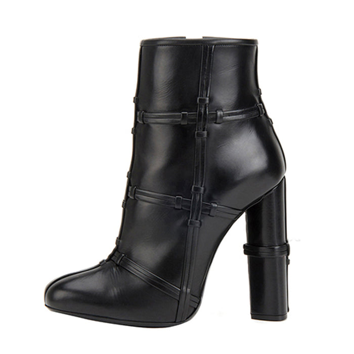 Gothic Punk Ankle boots with high heels and round toes