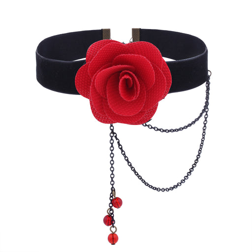 Goth Pastel Soft Rose Black Diamond Tassel Choker