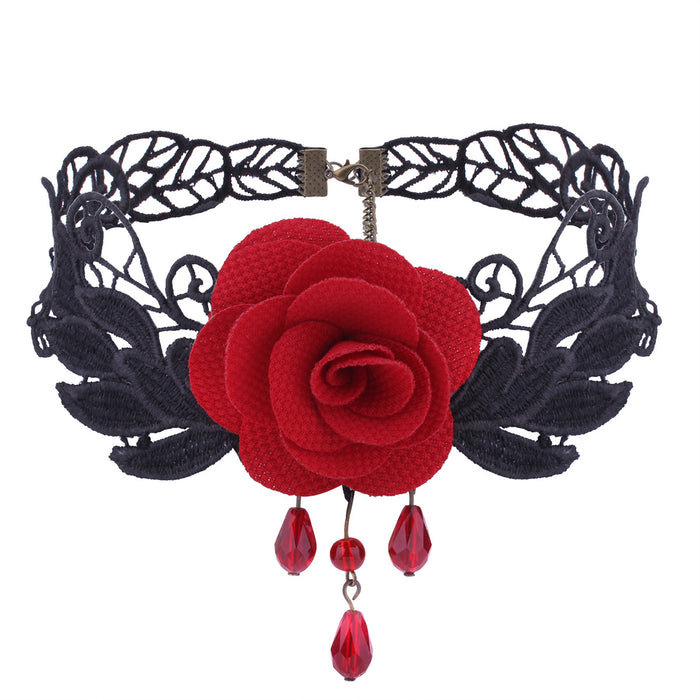 Gothic Pastel Soft Rose Lace Choker
