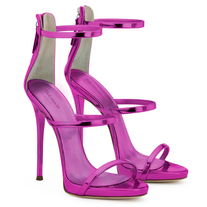 Pastel Gothic Lolita High-heeled patent leather sandals for ladies