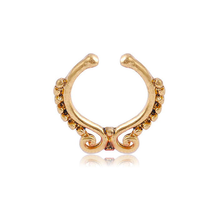 Gothic retro u-shaped gold band and false nose ring