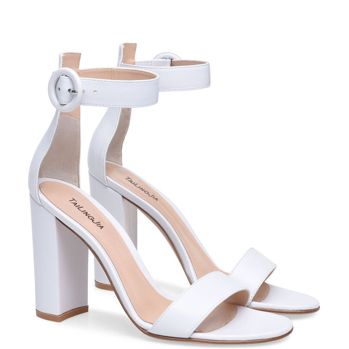 Pastel Gothic Lolita PU ankle buckle chunky heel sandals