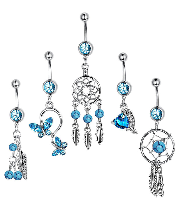 Gothic five sets of blue series belly ring