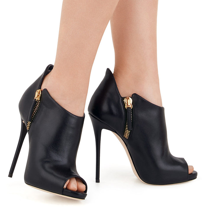 Gothic Punk Fish mouth high heel platform ankle boots