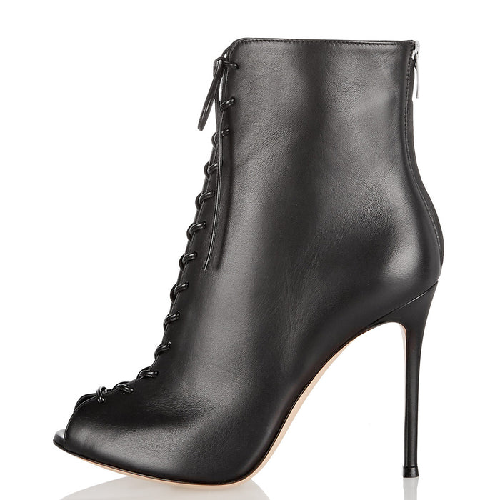 Gothic Punk High-heeled open-toed fish mouth lace-up ankle boots