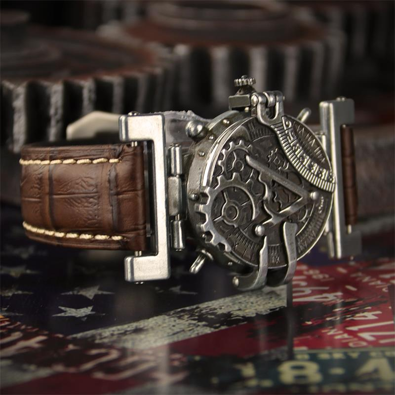 Steampunk retro personality quartz unisex watches watch leather strap