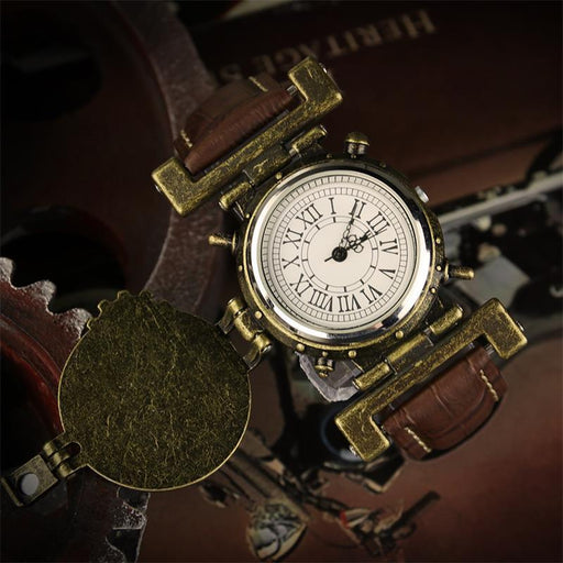 Vintage steampunk men's leather three-pin quartz watch