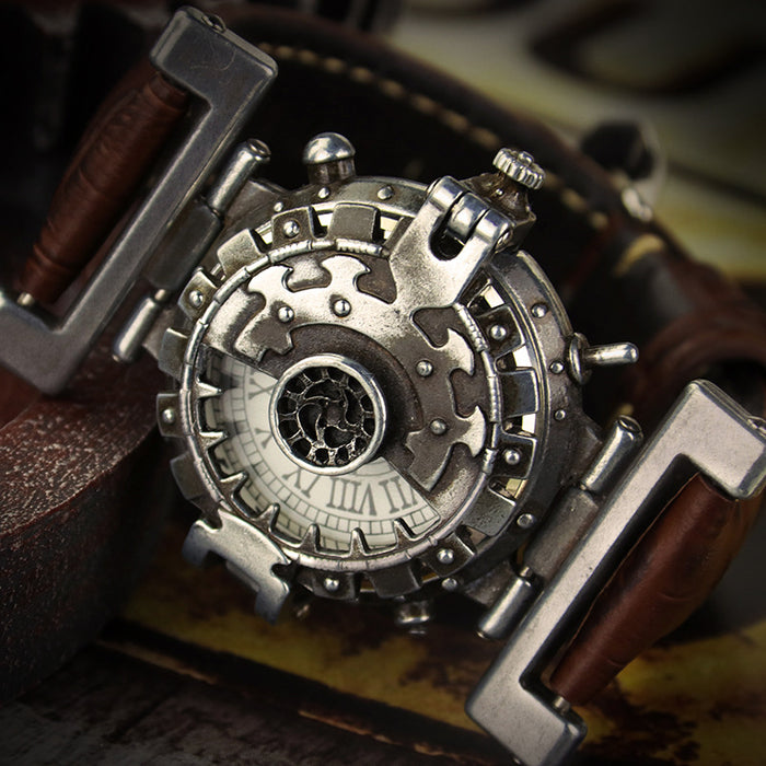 Steampunk retro personality dial brown leather band quartz watch