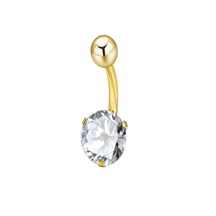 Gothic beautiful zircon belly ring with three-jaw ball