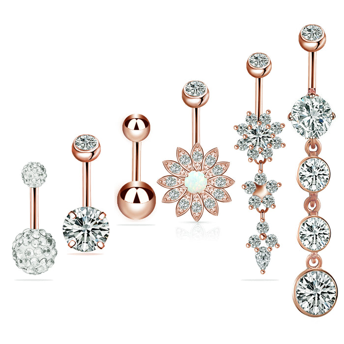 Gothic 6 piece stainless steel zircon set with diamond belly ring