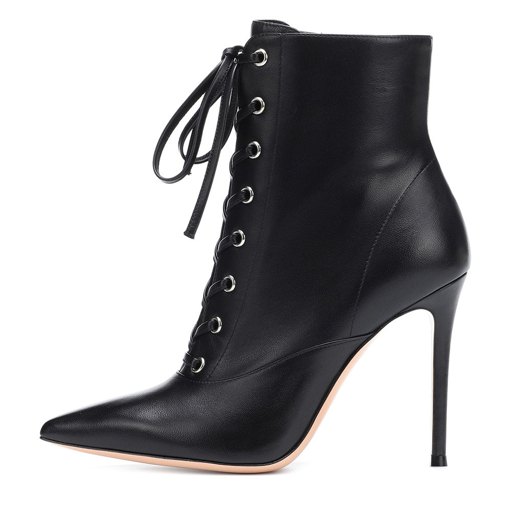 Gothic Punk Women's lace-up black pointed stiletto ankle boots