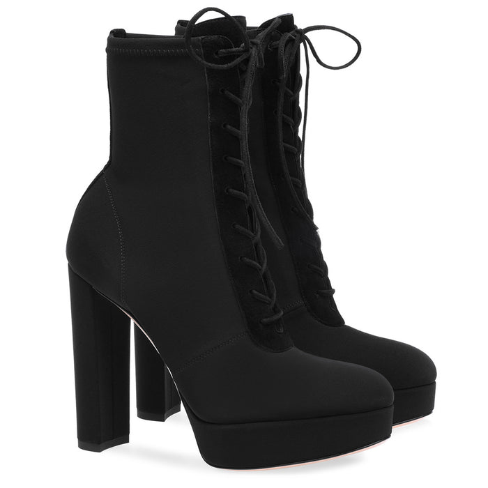 Gothic Punk Black platform ankle boots with strappy heels