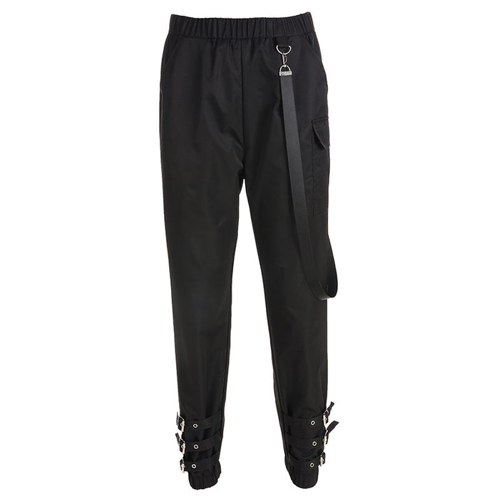 Gothic Japanese word buckle streamer hip-hop casual pants