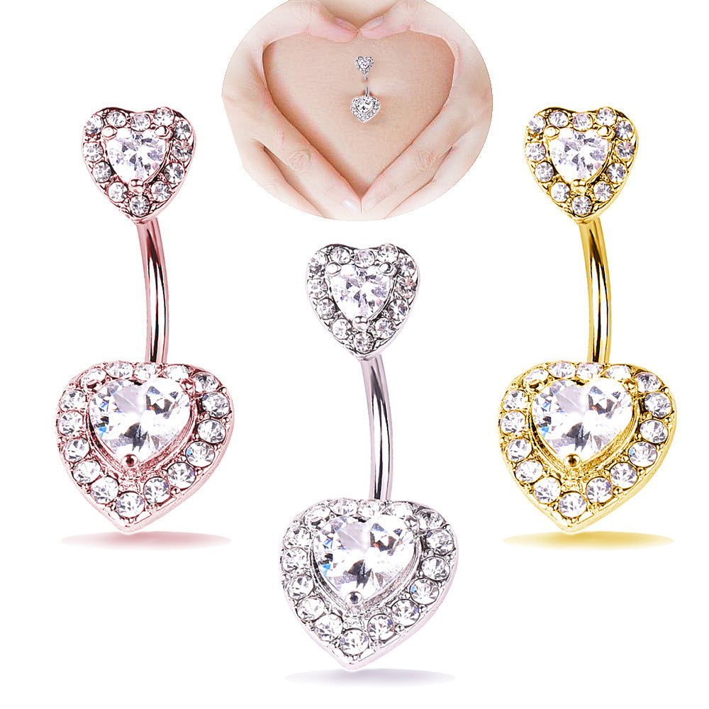 Gothic sexy twin hearts with zircon heart-shaped belly ring