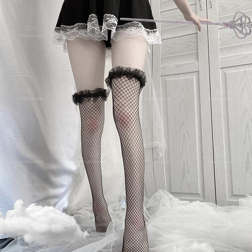 Gothic Sexy Amine School Girl Lolita Fishnet Stockings