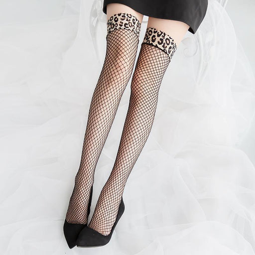Leopard Fishnet Stockings