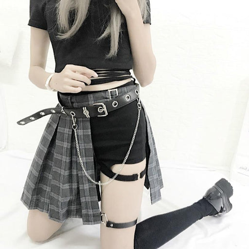 Rock Gothic Punk Style Plaid Irregular Skirts Women Asymmetrical High Waist  Skirts