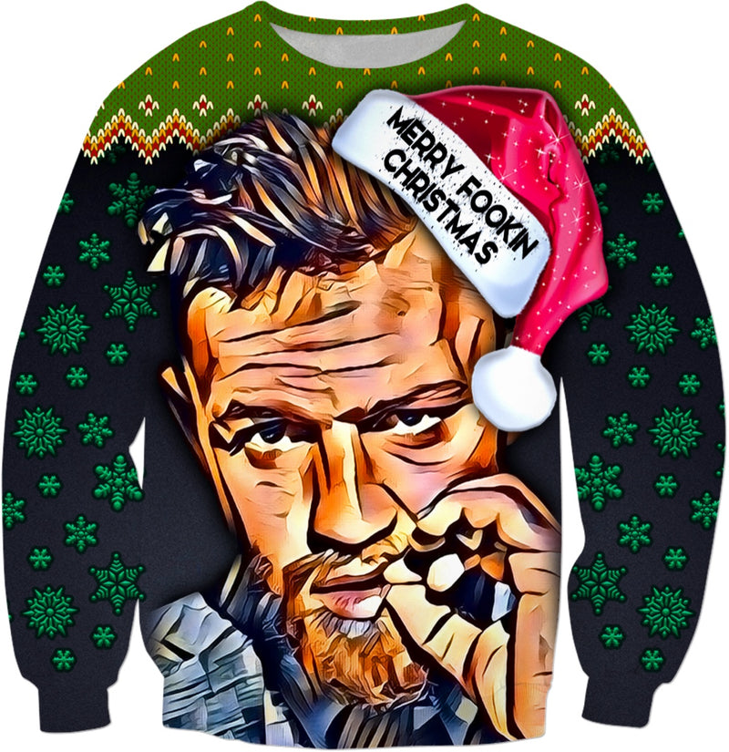 Merry Fookin Christmas Conor Mcgregor - JohnnyAppz , Merry Fookin Christmas Conor Mcgregor, Sweatshirts