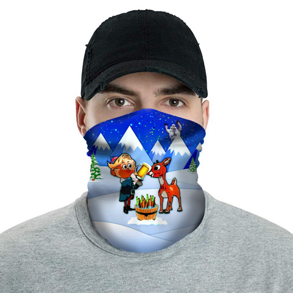 Rudolph the Red-Nosed Rager - Christmas Neck Buff Face Mask - JohnnyAppz , Rudolph the Red-Nosed Rager - Christmas Neck Buff Face Mask, Neck Buff