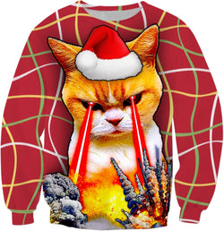 The Cat Who Blew Up Christmas - Ugly Christmas Sweater - JohnnyAppz , The Cat Who Blew Up Christmas - Ugly Christmas Sweater, Sweatshirts