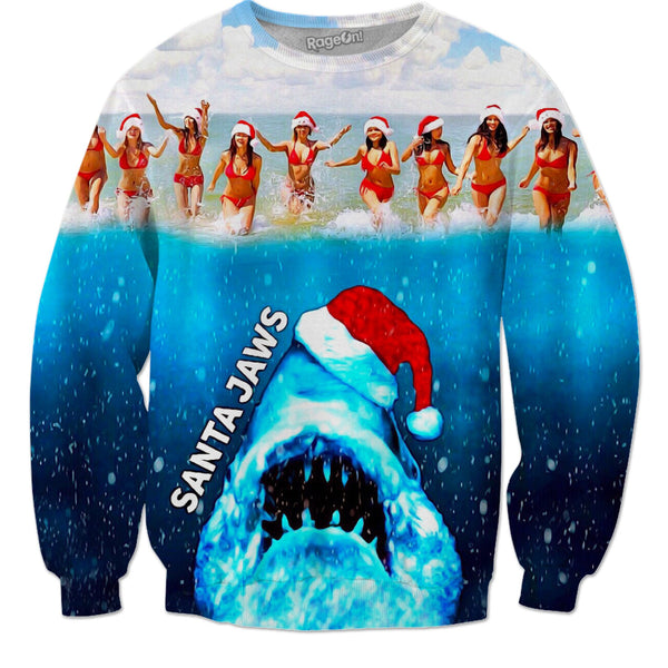 Santa JAWS - Christmas Sweater & More - JohnnyAppz , Santa JAWS - Christmas Sweater & More, Sweatshirts