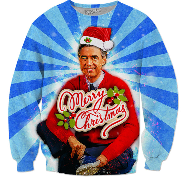 Mr Rodgers Christmas Sweater (With Title) - JohnnyAppz , Mr Rodgers Christmas Sweater (With Title), Sweatshirts