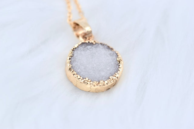 Natural druzy crystal necklace