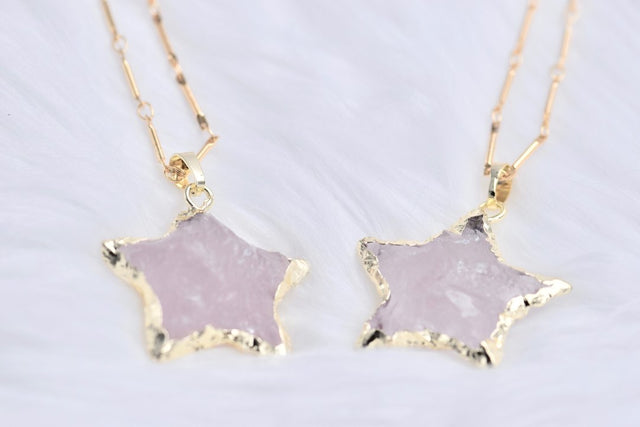 Rose quartz star pendant