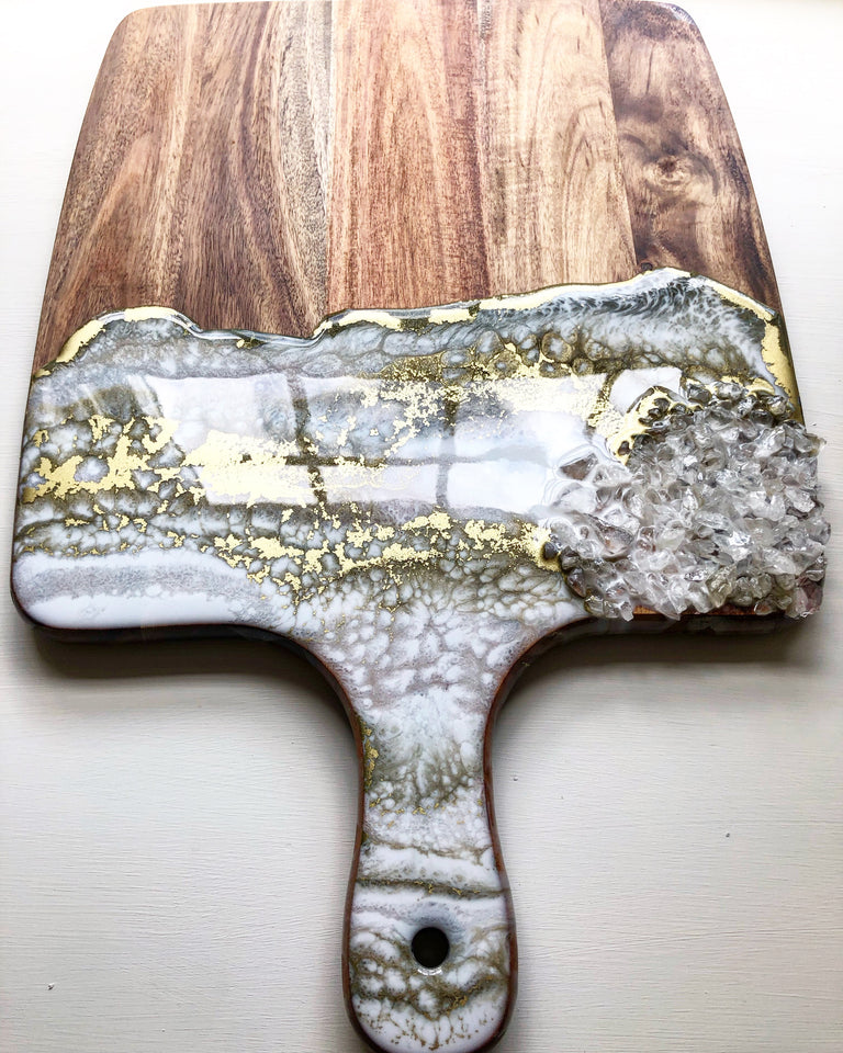 White and gold resin cheese board