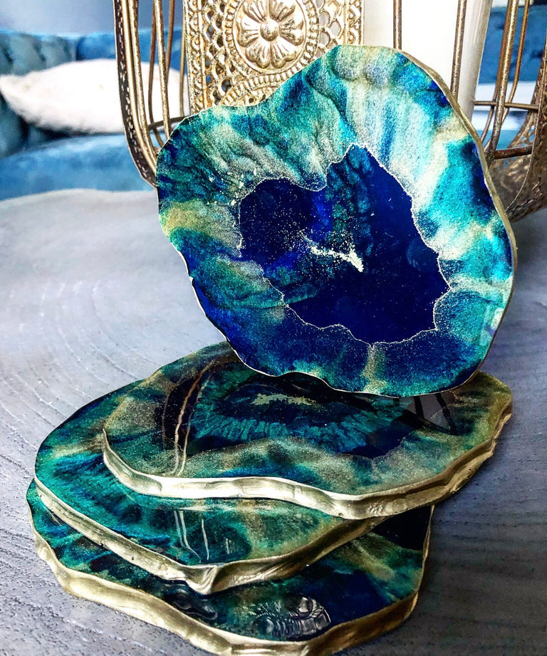 Sapphire blue and gold coasters