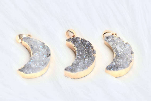 Druzy crescent moon pendants