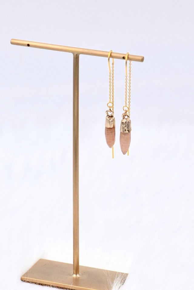 Pink chalcedony stringer earrings