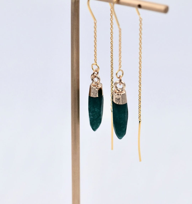Raw emerald stringer earrings