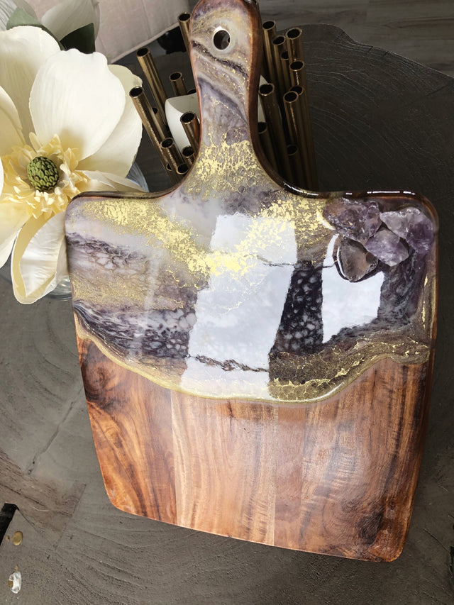 Amethyst and gold acacia serving board