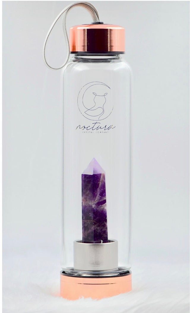 Rose gold and chevron amethyst water bottle