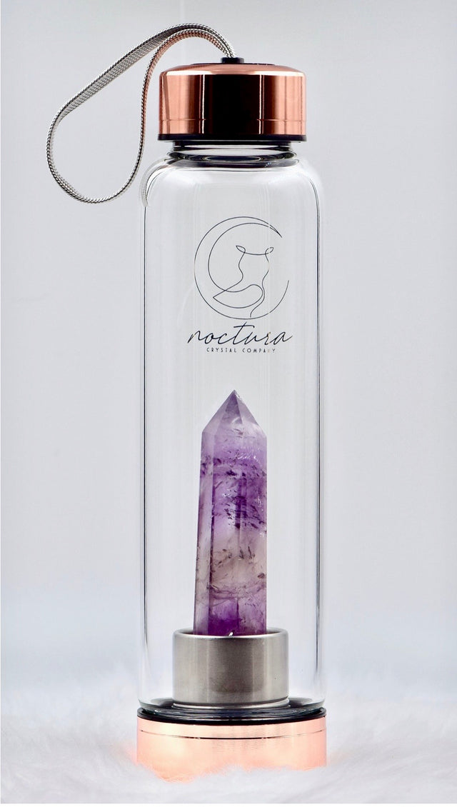Rose gold and amethyst crystal water bottle