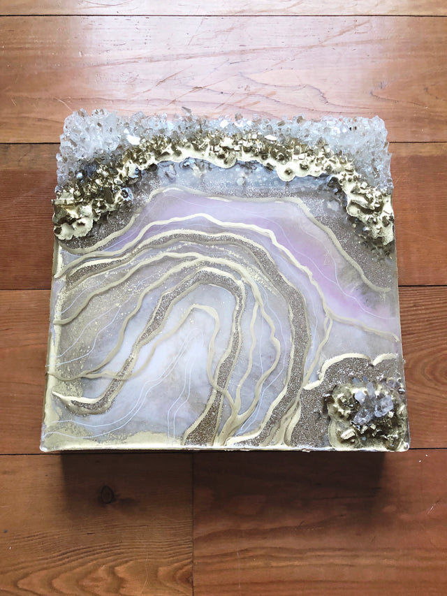 Baby pink and gold resin geode