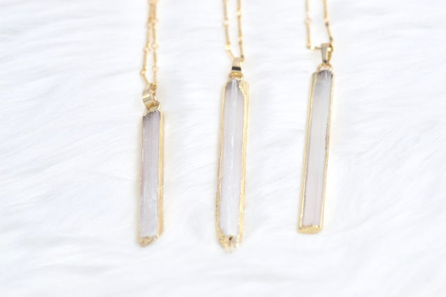 White selenite necklace