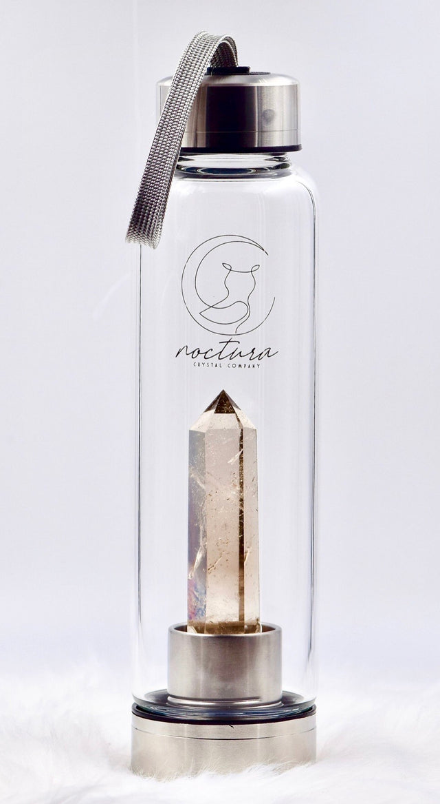 Smoky quartz crystal water bottle