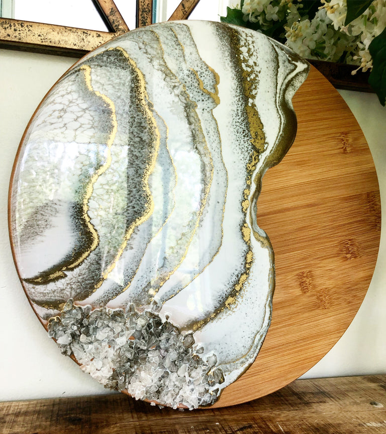 White and gold cheese board with clear quartz