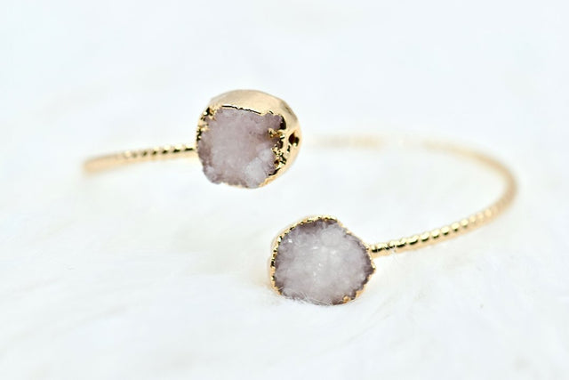 Natural druzy crystal bracelet