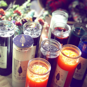 Fixed candles, juju, Bruja, candle magic, spells, beauty, love, herbs, lavender, rose, baths, oils